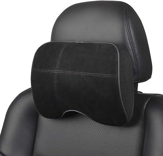 X AUTOHAUX Universal Seat Neck Pillow Memory Foam Rest Headrest Cushion Black Red for Car