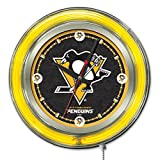 Holland Bar Stool NHL Pittsburgh Penguins Double Neon Ring 15-Inch Diameter Logo Clock
