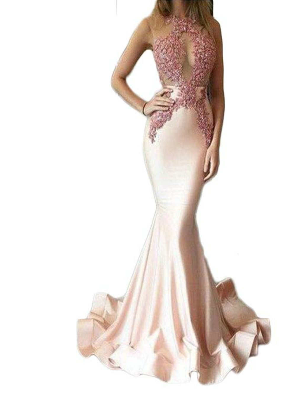 2017 Gotidy Sexy Mermaid High Neck Applqiues Tulle Long Prom Party Evening Dresses