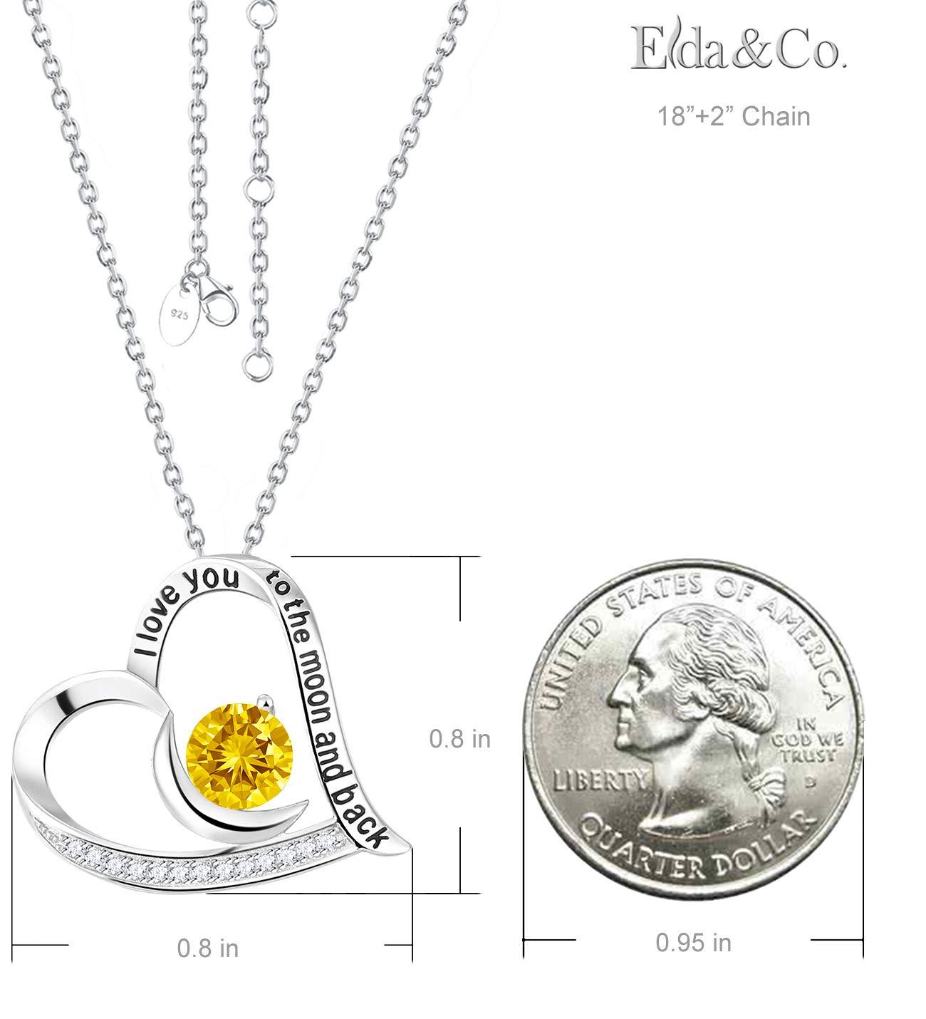 Elda&Co I Love You to The Moon and Back Heart Pendant November Birthstone Yellow Citrine Swarovski Necklace Sterling Silver Fine Jewelry Birthday Gift for Women for Her by Elda&Co (Image #2)