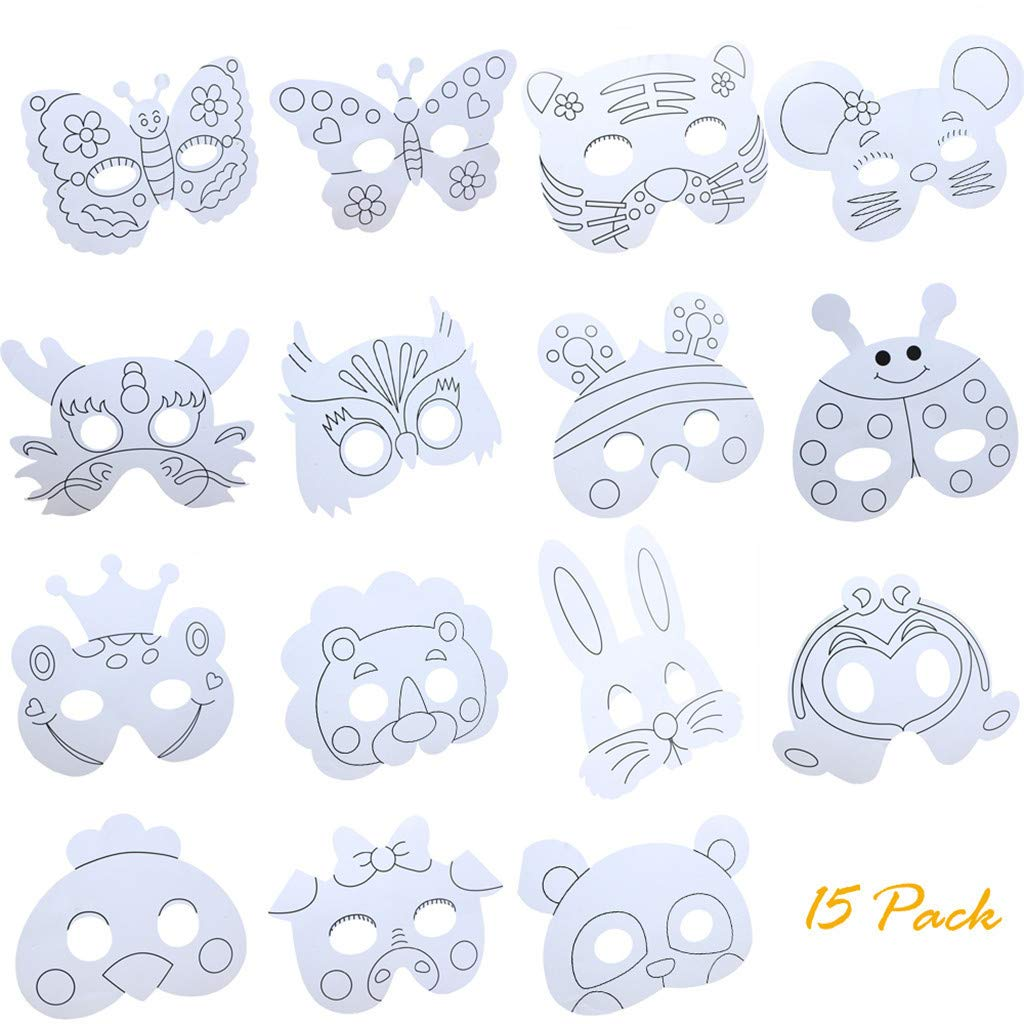 callm 15pcs Children DIY Paper Animal Craft Mask Graffiti Blank Mask Animal Cartoon Children Coloring Painting Mask Party Cosplay Toy Mask