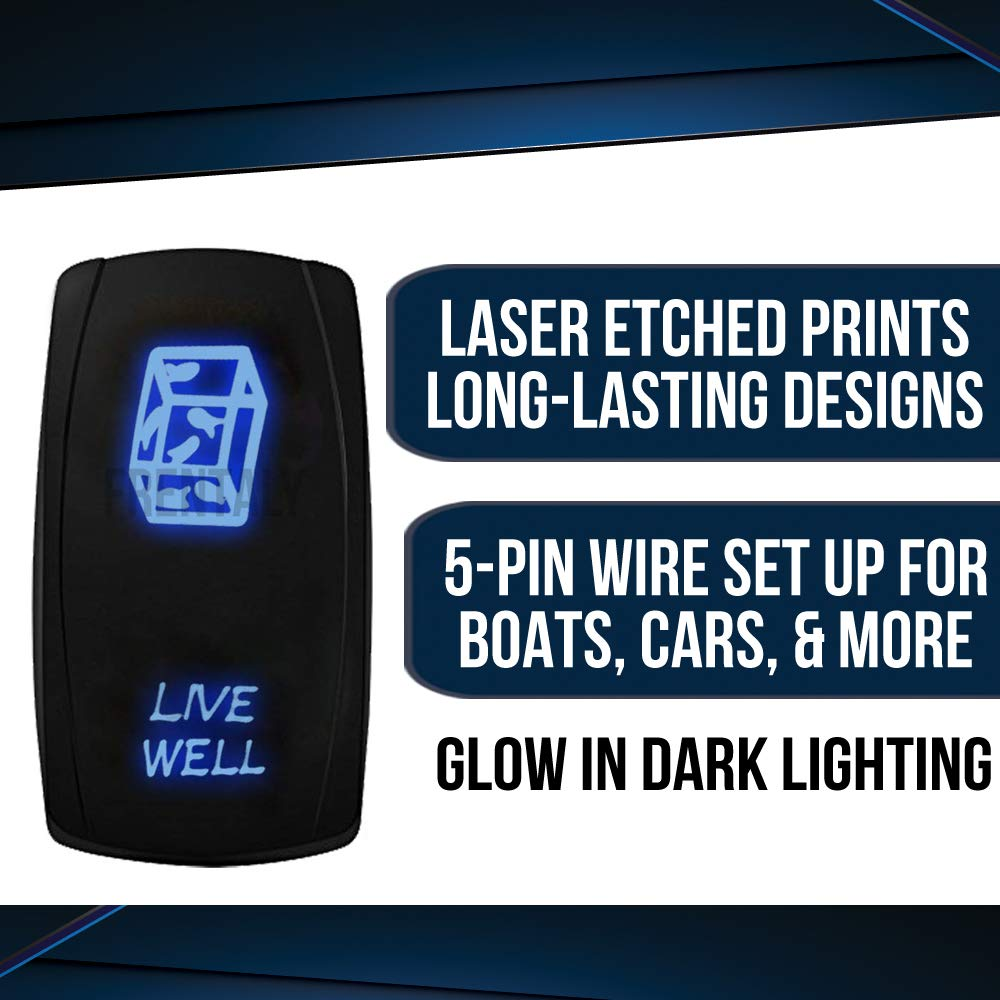 Frentaly Blue Laser Etched Waterproof ON Off Kit Custom Marine Boating Vehicle Terrain Electronic 5 Pin Toggle Control Rocker Switch