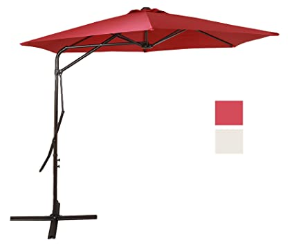 Domi Outdoor Living 9 Ft Cantilever Patio Umbrella With Strong Sturdy Hand  Push Round,6