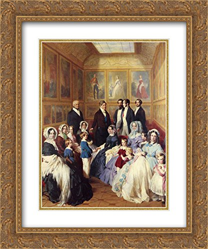 Franz Xaver Winterhalter 2x Matted 20x24 Gold Ornate Framed Art Print 'Queen Victoria and Prince Albert with the Family of King Louis Philippe at the Chateau - At Louis Galleria
