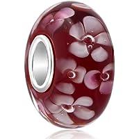 Perle Uniqueen - En verre de Murano - Motif de fleurs - Avec passant en argent sterling - Pour bracelets à breloques de style européen