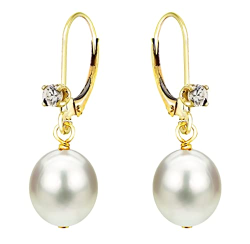 14K Yellow Gold Dangle Leverback White Freshwater Cultured Pearl Earrings Diamond 1 10 CTTW 8-8.5mm