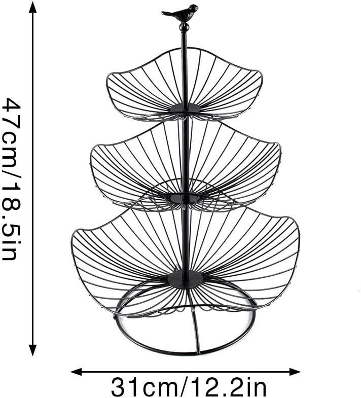 Black Metal Wire Fruit Bowls Countertop Stand IHOMYIPET 3-Tier Lotus Leaf Shape Decorative Fruit Basket Metal Wire Fruit Basket Tray Stand Storage Basket