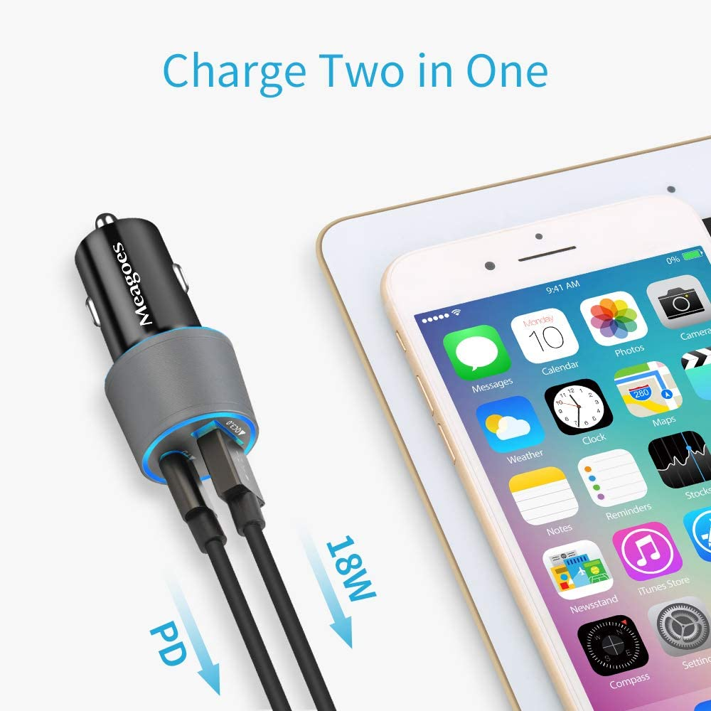 Meagoes Fast USB C Car Charger MFi Certified 18W Rapid PD Charging Adapter Compatible for Apple iPhone 11 Pro Max//11 Pro//11//XS Max//XS//XR//X//8 Plus//8 Phone with 3.3ft Type C to Lightning Cable Cord