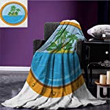 Island Printed blanket Graphic of Tropic Island View from the Bronze Ship Window with Palm Trees minion blanket Blue Green Orange size:51''x31.5''