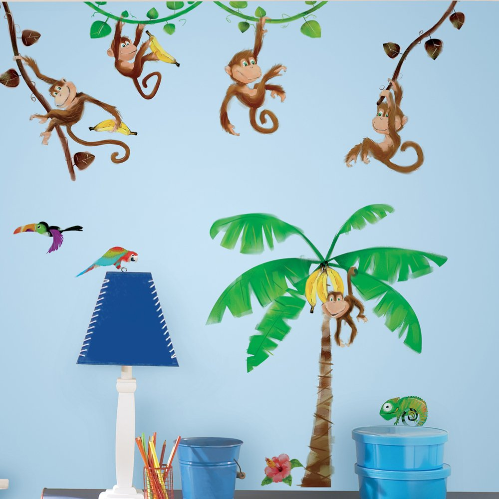 RoomMates RMK1676SCS Monkey Business Peel and Stick Wall Decals, Multicolor , Brown