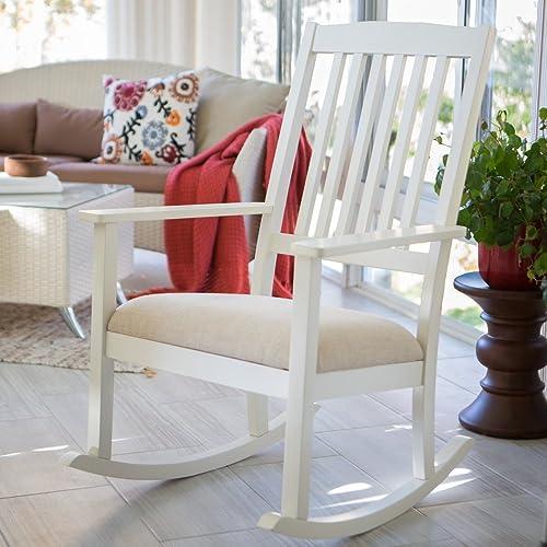 Belham Living Upholstered Mission Wood Nursery Rocker – Vanilla