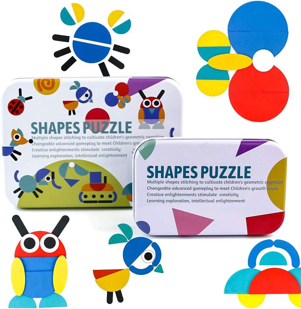 PL Puzzles Infantiles Montessori Tangram Madera 3 4 5 6 Anos- Puzzle Rompecabezas de Madera y Tarjetas de Apilamiento Montessori Juguetes para Niños Niñas 96 Piezas