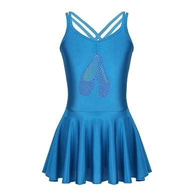Agoky Enfant Robe de Danse Classique Courte Fille Robe de Ballet Latine Justaucorps  Danse Gymnastique Gym 7355948150e