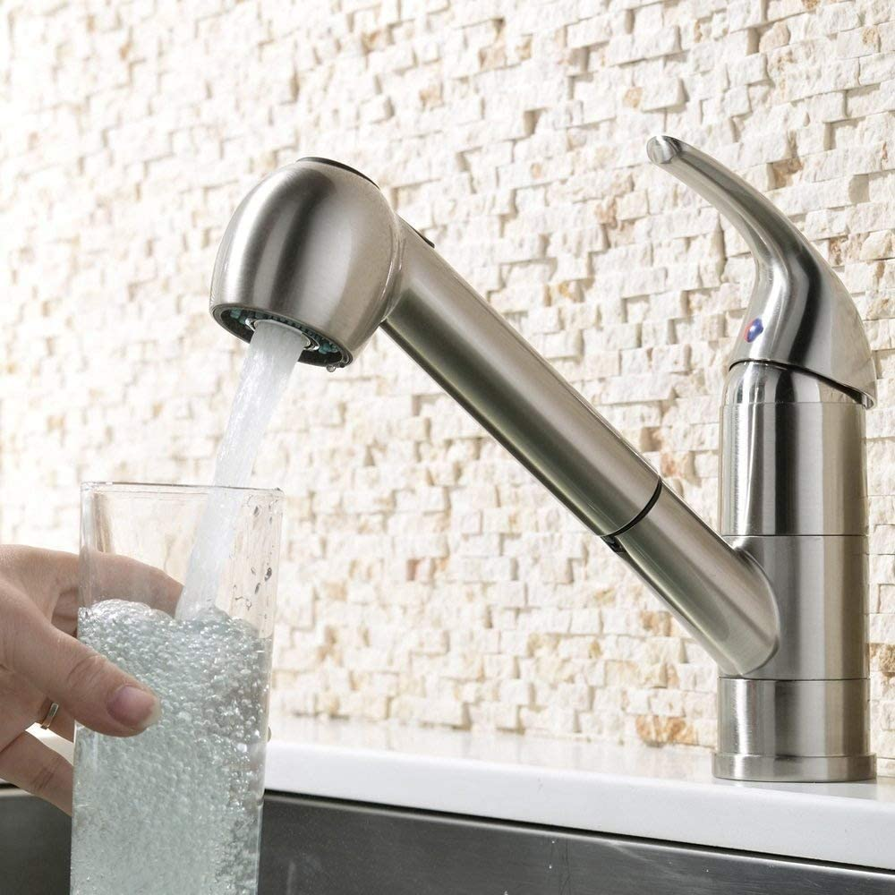 robinets chauds et froids douchette confortable AXWT Robinet Incroyable /à levier unique Acier inoxydable au nickel bross/é monobloc Mitigeur /à bec r/étractable Robinets for /évier de cuisine