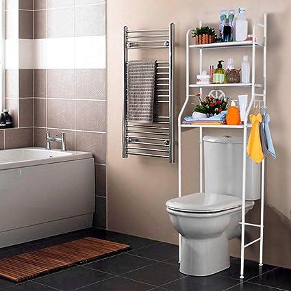 Estanteria sobre Inodoro WC Lavadora Ahorra Espacio Almacenamiento Cuarto Baño