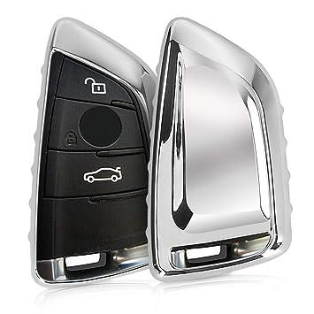 kwmobile Funda para Llave Smart Key de 3 Botones para Coche BMW - Carcasa [Suave] de [TPU] para Llaves - Cover de Mando y Control de Auto en [Plateado ...