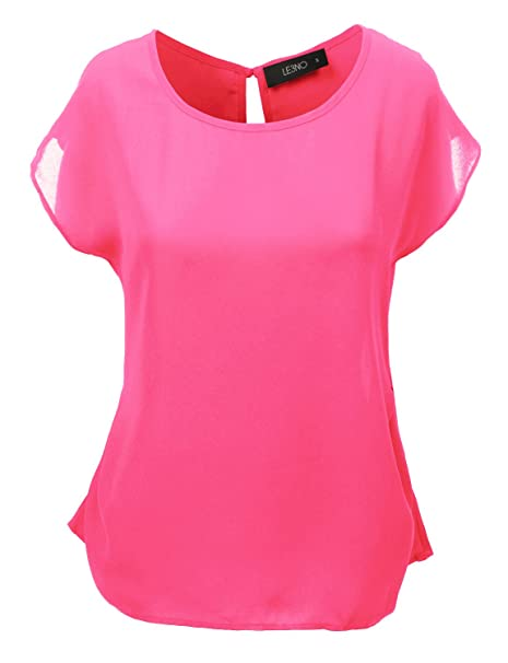 Le3no Womens Loose Fit Short Sleeve Chiffon Blouse Top At Amazon
