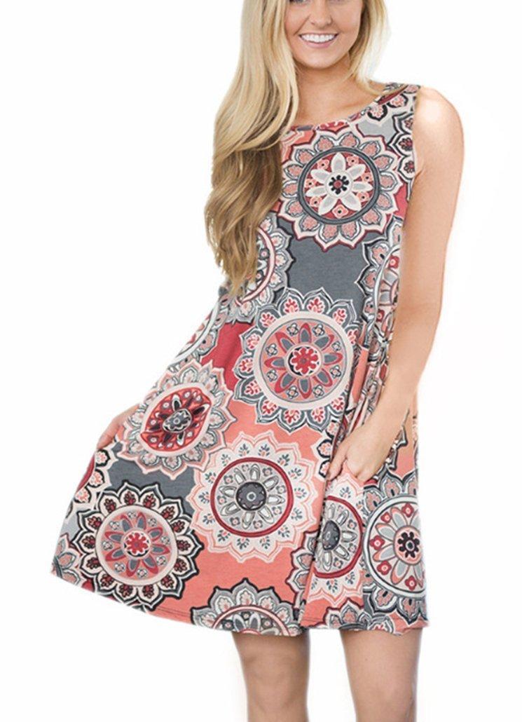 Andaa Womens Crew Neck Printed Sleeveless Casual Tunic Tops Summer Swing Tee Shirt Dress with Pockets (Gray, XL)