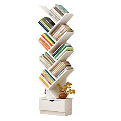Furniture Learned L87 Modern Simple Bookshelf Multifunctional Bedroom Wooden Bookcase Creative Density Plate Multi-layer Book Cabinet With Drawer Durable Service