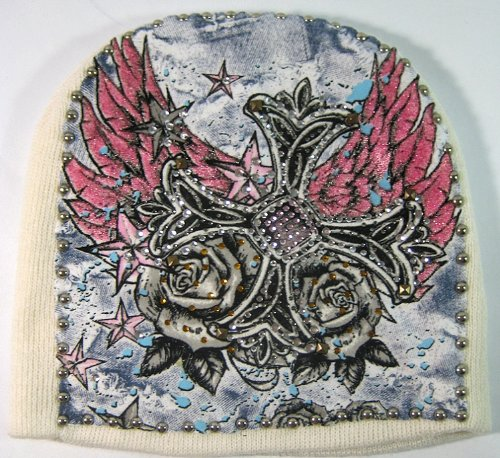 Fashion Hand Made Bling Tattoo Style Short Beanies - White | Cross & Wings