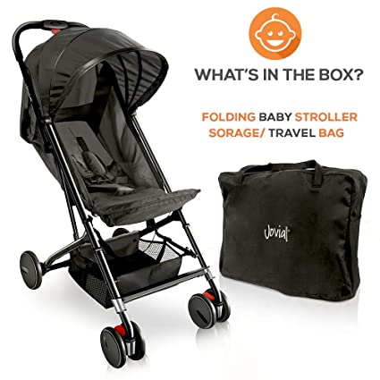 Portable Folding Lightweight Baby Stroller Canopy Sun Shade Easy 1 Hand Fold Smallest Foldable Compact Stroller Airplane Travel Compact Storage Storage Bag Jovial JPC20BK 5-Point Safety