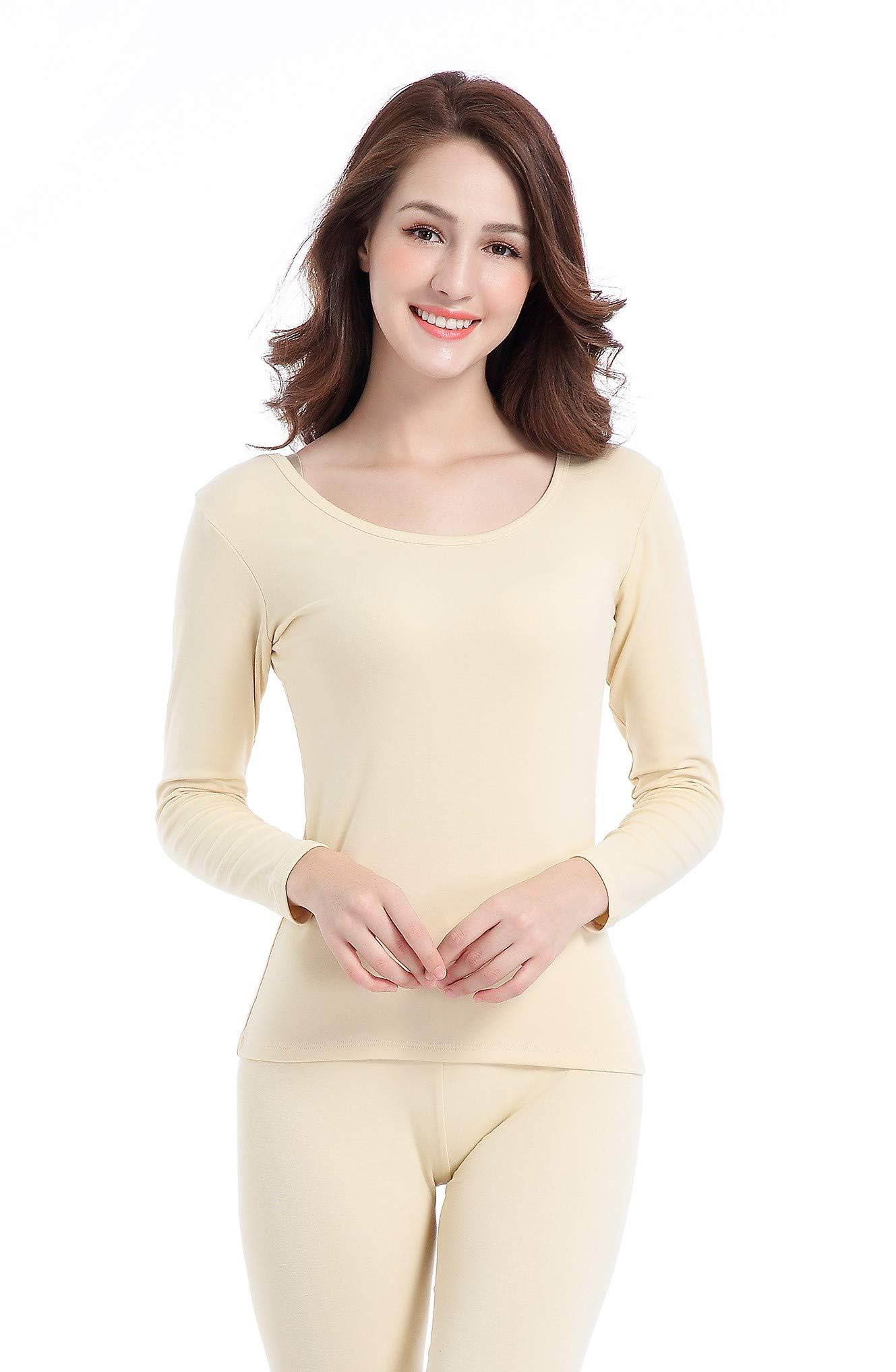 Women Long John Underwear Light Thin Base Layer Clothing Scoop Neck Thermals Set