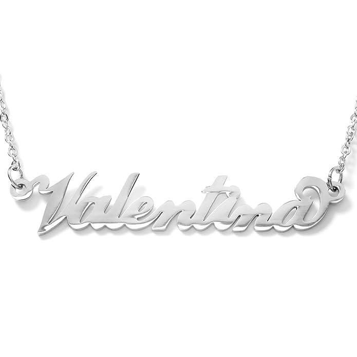 1 opinioni per Collana con nome Valentina in acciaio con catenina sottile a ovali regolabile