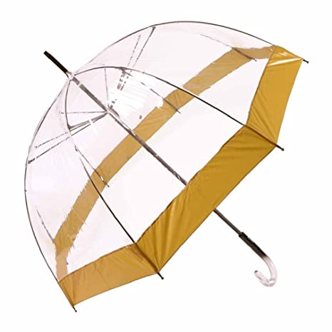 Paraguas largo mujer transparente Vogue manual aluminio franja amarilla