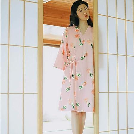Tsosginaog Camisón De Algodón para Mujer Camisón De Manga 3/4 Pijama De Kimono Suelto Bata De Casa Ropa De Dormir Adecuado para Primavera, Verano Y Otoño,Rosado,XL: Amazon.es: Hogar