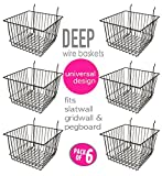 Only Garment Racks Deep Wire Storage Baskets For Gridwall, Slatwall and Pegboard - Black Finish - Dimensions: 12'' x 12'' x 8'' Deep - Economically Sold in a Set of 6 Baskets