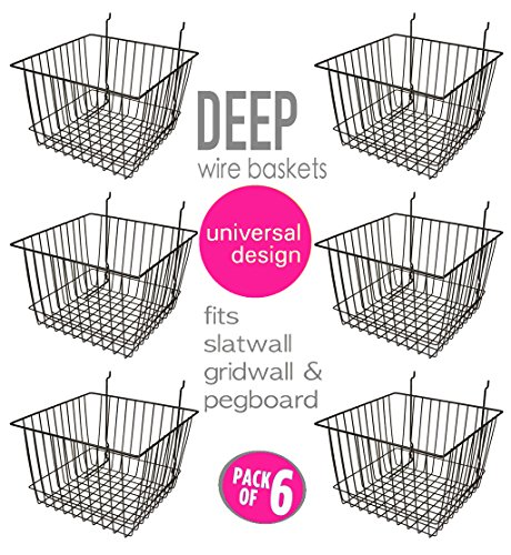 Only Garment Racks Deep Wire Storage Baskets For Gridwall, Slatwall and Pegboard - Black Finish - Dimensions: 12