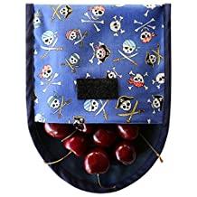 Pirate Print Reusable Sandwich Bag. BPA and Phthalate Free. Comes with Free E-book with 10 Lunch Box Ideas to Make Picnics an Lunches Fun, Easy and Sustainable. Easy Clean. Dishwasher Safe. (Blue Pirate, Cotton)