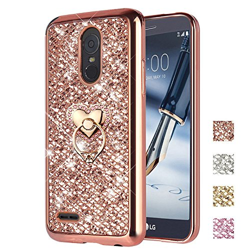 LG Stylo 3 Case, LG Stylo 3 Plus Case, ZHFLY Bling Glitter Sparkle Jelly Soft Silicone TPU Bumper Frame Stand Case With Metal Ring Holder Back Cover for LG Stylo 3/Stylo 3 Plus, Rose Gold Silicon Bumper Frame