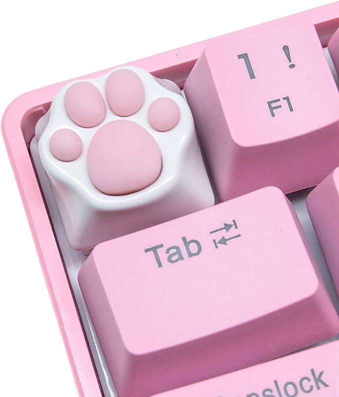 Keycap ESC de Garras del Gato Hecho a Mano de Goma-Metal Teclas Personalizadas para 60% Teclado Mecánico Gaming Cherry MX (Rosado-Blanco)
