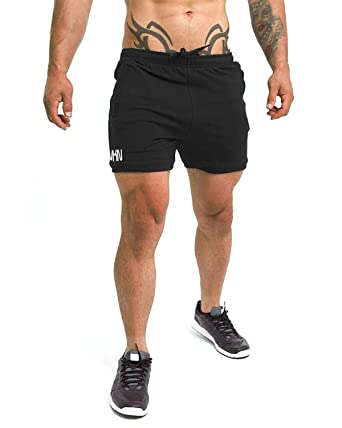 a2871013f8bf Image Unavailable. Image not available for. Color: Shakestron Men's Fitted  Shorts Bodybuilding Squat Gym ...