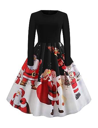 grossiste 7868b d5596 FeelinGirl Femme Robe Noel Robe de Noel Robe Noel Femme Robe Noel Noir Robe  soirée Noel Robe Noel Pas Cher Robes pour Noel Femme Longue Robe Noel Robe  ...