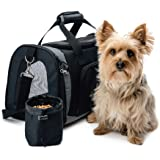 The Original GORILLA GRIP Pet Carrier for Dogs and Cats, Free Travel Bowl, Locking Safety Zippers, Airline Approved, Up to 15lbs, Washable Sherpa Insert, Perfect for Air Travel, Adjustable Strap