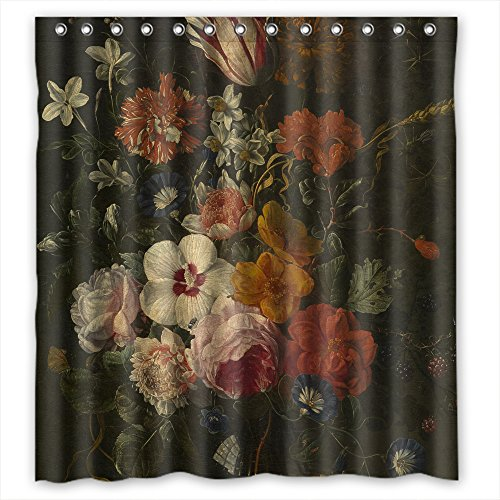 - ZEEZON Polyester Art Painting Abraham Mignon - Flowers In A Vase Christmas Shower Curtains Width X Height / 66 X 72 Inches / W H 168 By 180 Cm Gift Or Decor For Couples Boys Bf Boys Custom. Modern