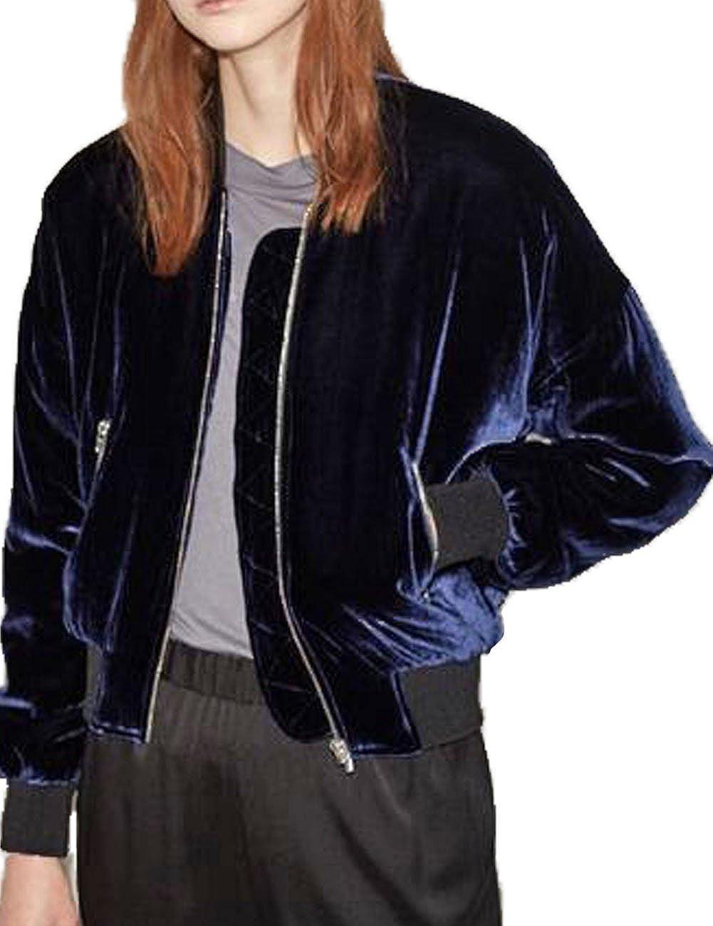 Womens Soft Pleuche Bomber Jacket