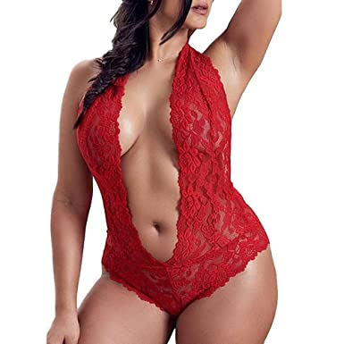 744765893e105 YIHANK Fashion Sexy Lingerie Lace Underwear Plus Size Siamese Babydoll  Nightwear Red
