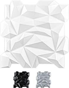 Art3d PVC 3D Diamond Wall Panel Jagged Matching-Matt White, for Residential and Commercial Interior Décor
