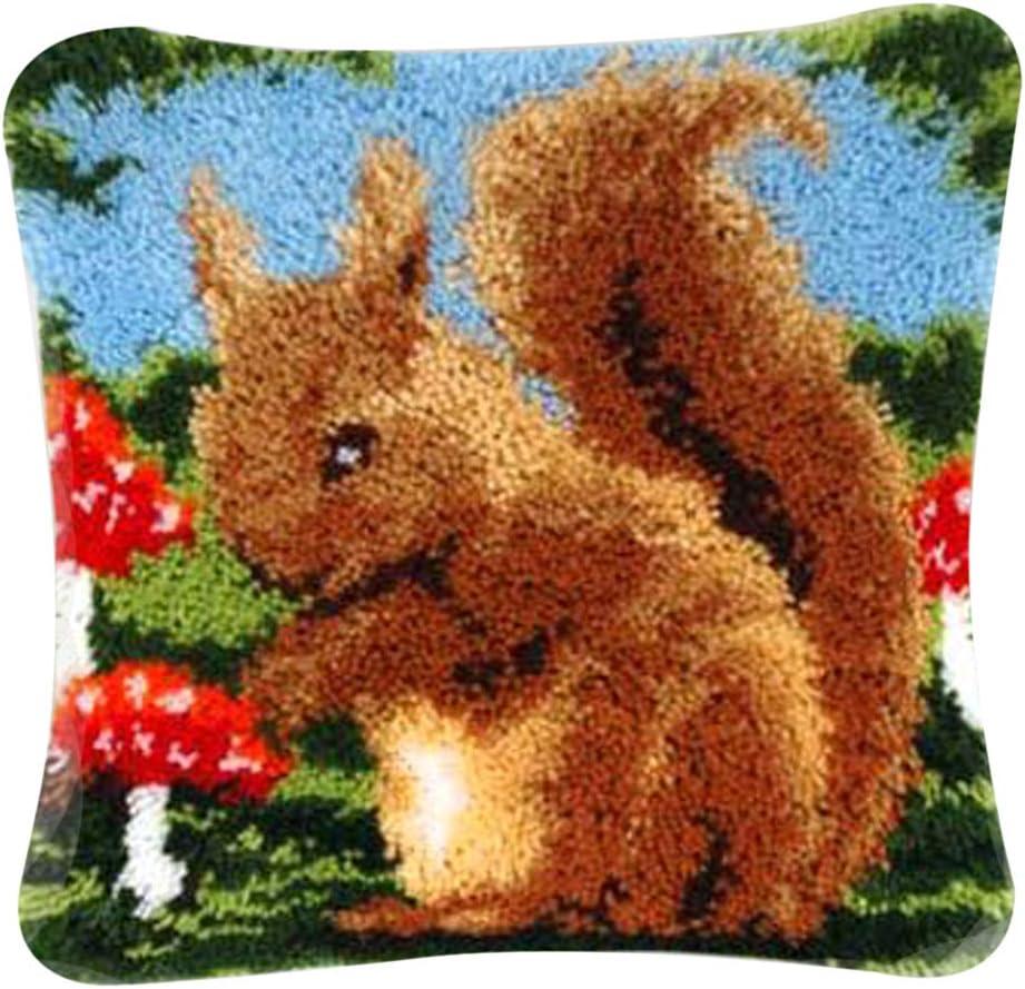 LoveinDIY Animal Latch Hook Kit Rug Animal Rabbits Mushroom DIY Needle Craft Shaggy Kids Rug 16X16 in