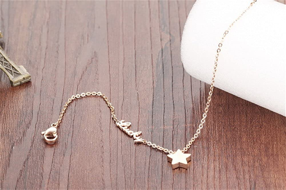 Rose Gold Plated Lucky Star Stainless Steel Anklet 7.87+1.96