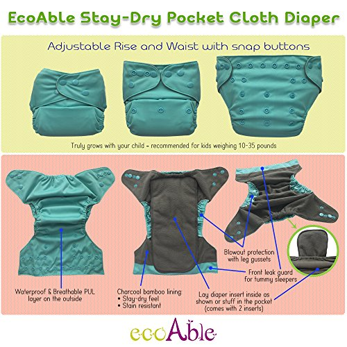 Amazon.com : Pocket Cloth Diaper Stay-Dry Charcoal Bamboo, One Size 10-35Lb (Hearts) : Baby