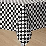 GIFTEXPRESS® Pack of 2, Black & White Checkered Flag Table Cover Party Favor/Checkered Tablecloth/Disposable Checkered Racing Table Cover