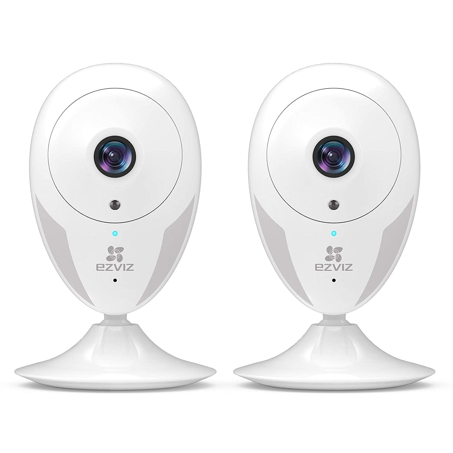 EZVIZ Indoor Wi-Fi Security Camera HD IPC Works with Alexa Google Home IFTTT 2.4G WiFi 25ft Night Vision Motion Detection Alert Baby Pet Monitoring 111 Wide Angle Two-Way Audio White CTQ2C 2 Pack