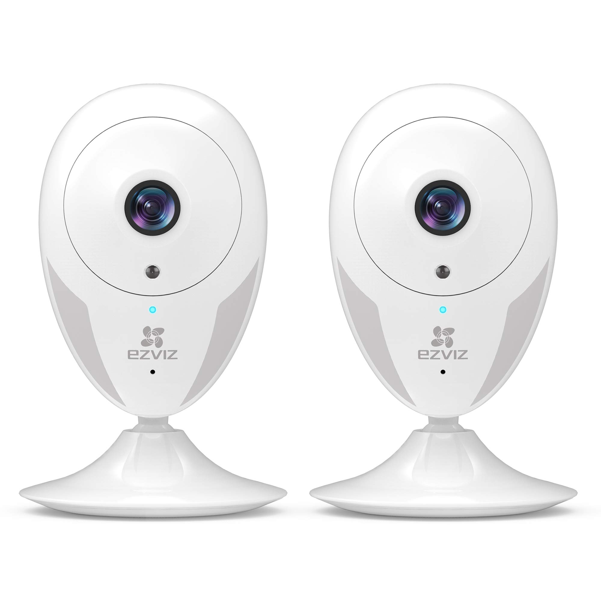 EZVIZ Indoor Wi-Fi Security Camera IPC Works with Alexa Google Home IFTTT WiFi(2.4G Only) 25ft Night Vision Motion Detection Alert Baby/Pet Monitoring 111° Wide Angle Two-Way Audio White CTQ2C 2 Pack