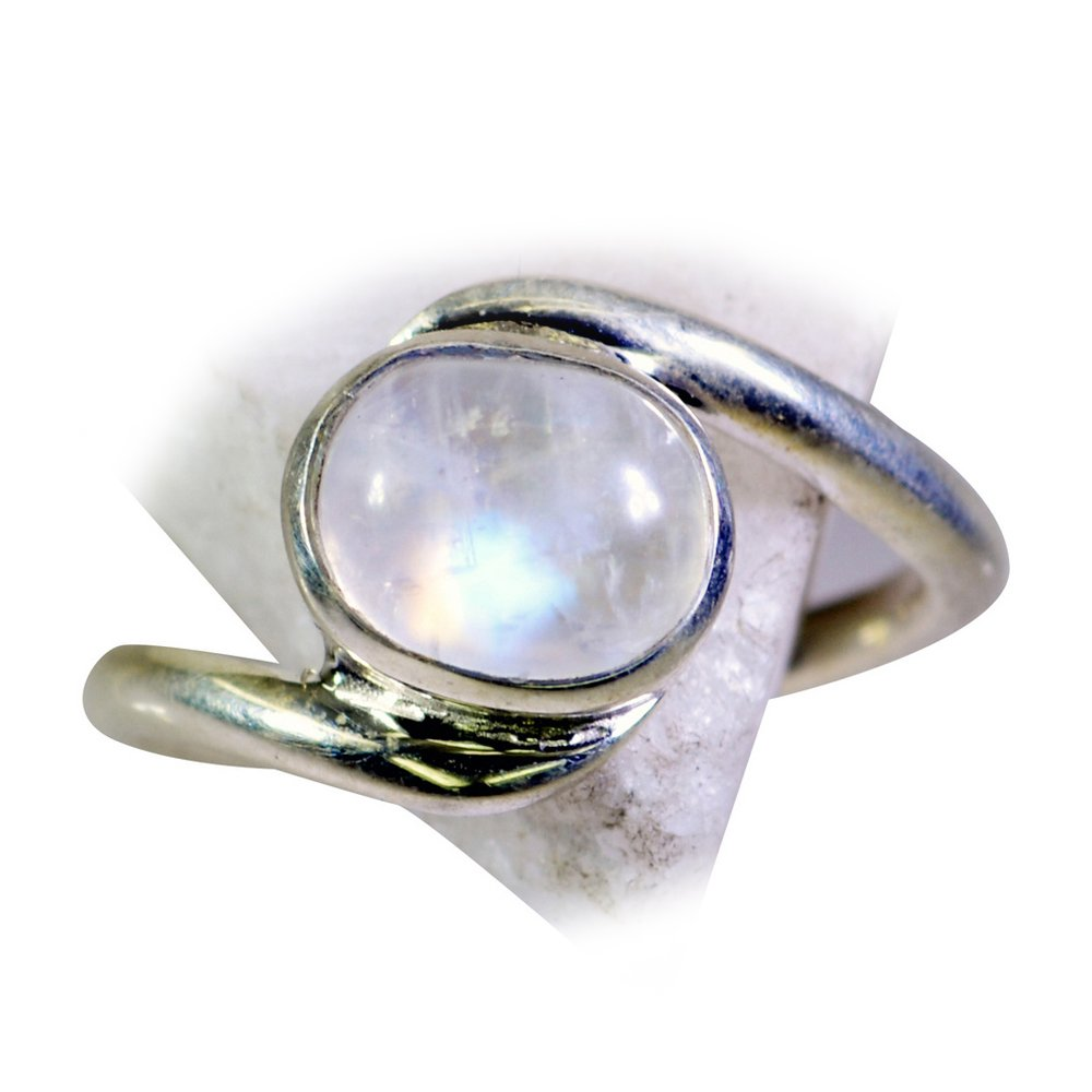 CaratYogi Trendy Natural Rainbow Moonstone Silver Ring Oval Shape Bezel Style for Her Size 6 7 8 9 10 11