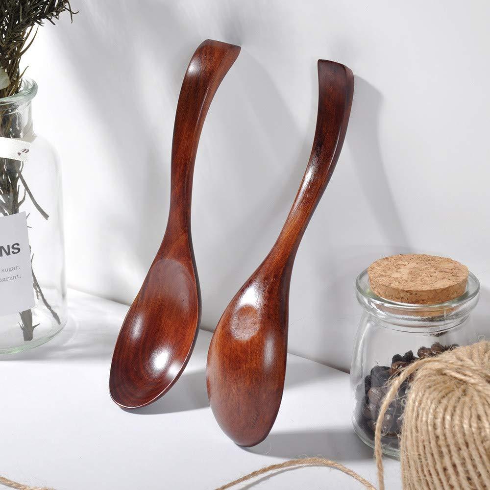 Spoon, LtrottedJ Wooden Spoon Fork Bamboo Kitchen Cooking Utensil Tools Soup-Teaspoon Tableware
