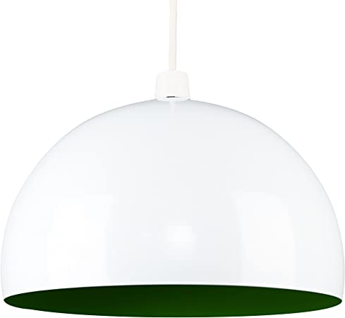 MiniSun - Moderna pantalla de lámpara de techo del afamado estilo Arco, de metal, en blanco y verde brillante en forma de globo: Amazon.es: Iluminación